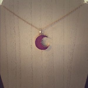 Pink Druzy Stone Moon Necklace